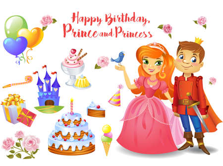 Cute birthday design elements for a party in style of the little prince and princess. Reklamní fotografie
