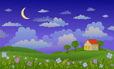 cultivated land: Vector illustration of beautiful landscape at night.