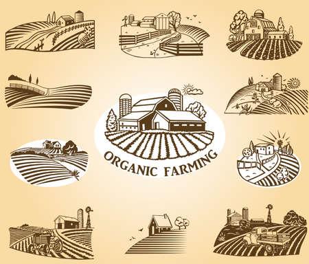 Biologische landbouw ontwerpelementen.