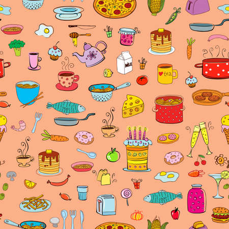 wares: Seamless background meal and ware in doodle style. Illustration