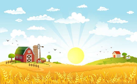 Rural scene with the farm, fields and cows on a pastures on sunny morning. The good choice for Logo, emblem, lable, sticker Vectores