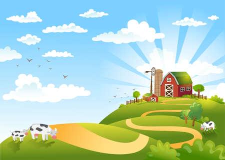 Vector illustratie van mooi landschap met boerderij.