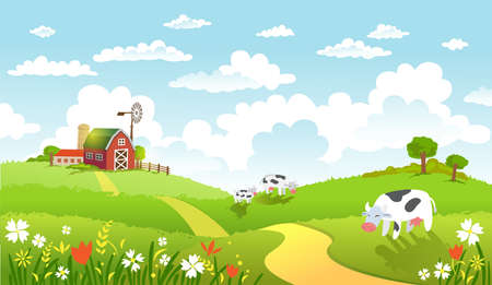 Rural scene with the farm, fields and cows on a pastures. The good choice for Logo, emblem, lable, sticker