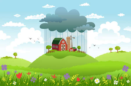 Cloud and rain over one farm, while around good weather. Conceptual illustration