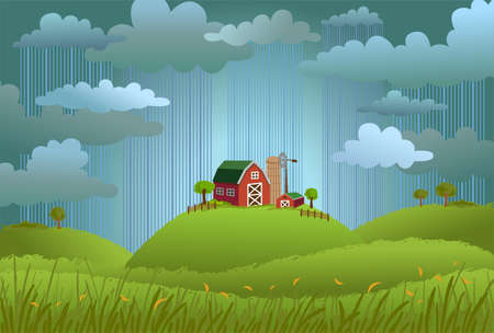 Rainy day in the village Illustration