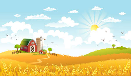 Rural scene with the farm, fields and cows on a pastures on sunny morning. The good choice for Logo, emblem, lable, sticker Vettoriali