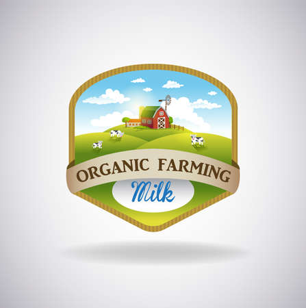 Vector format label with the image of a farm, fields and pastures. The good choice for Logo, emblem, lable, sticker 向量圖像