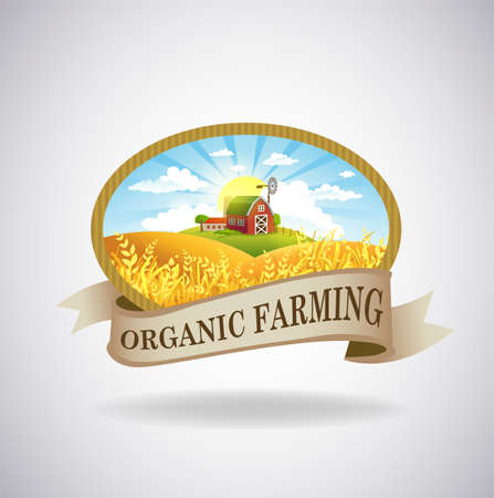 Vector format label with the image of a farm, fields and pastures. The good choice for Logo, emblem, lable, sticker Çizim