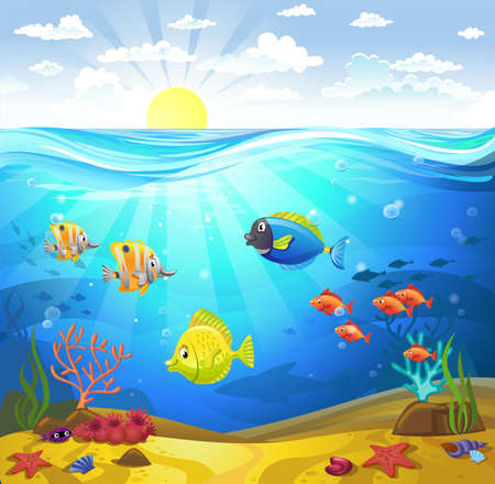 Vectorial illustration of a seabed with corals and small fishes