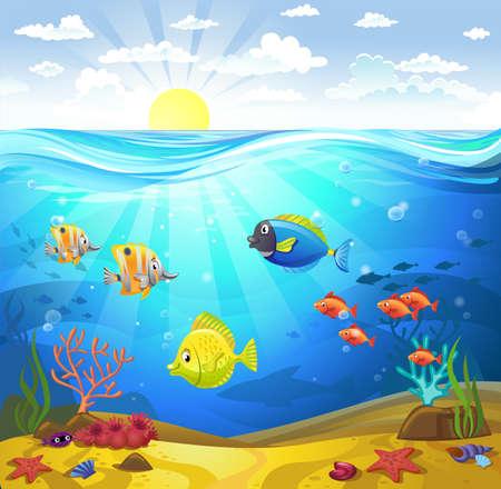 Vector illustratie van een zeebodem met koralen en kleine vissen
