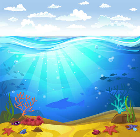 Underwater- Seabed with corals Illustration
