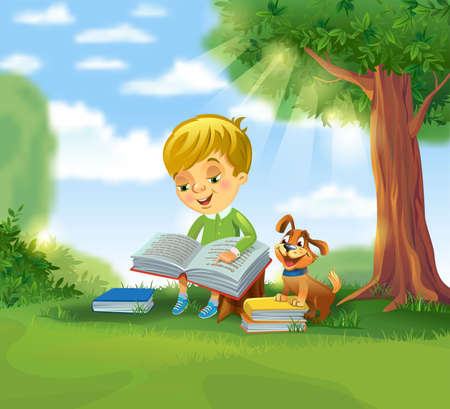 tree of knowledge: Cute boy reading book Illustration