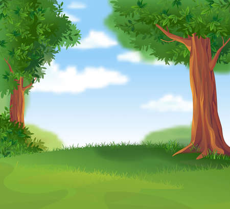 Green Landscape in the summer sunny day Illustration