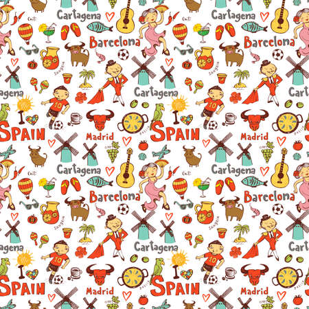 Seamless Background With Symbols Of Spain Royalty Free Cliparts