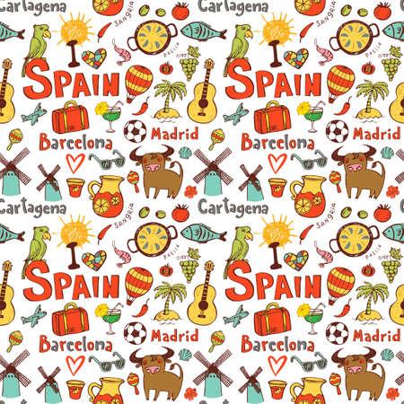 Naadloze achtergrond met symbolen van Spanje Stock Illustratie