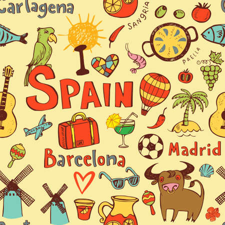 Nahtlose Hintergrund mit Symbolen von Spanien