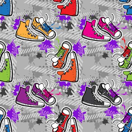 Hippie seamless pattern Illustration
