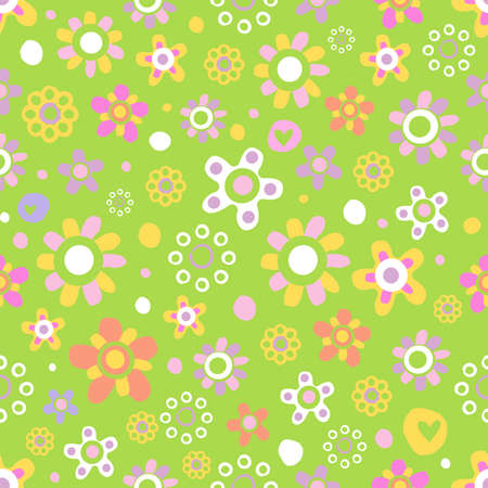 Seamless pattern with cute funny cartoon flowers and herbs on green background. The good choice for childrens accessories, fabric and other. Vector illustration Illustration