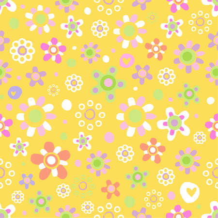 Seamless pattern with cute flowers. Illustration