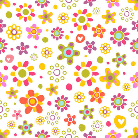 Seamless pattern with cute funny cartoon flowers and herbs. The good choice for childrens accessories, fabric and other. Vector illustration Illustration