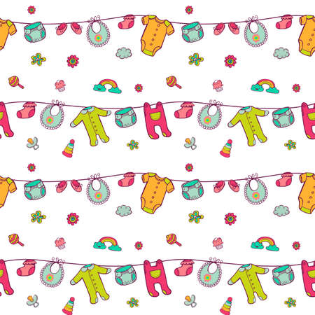Seamless pattern with cute baby clothes. Illustration