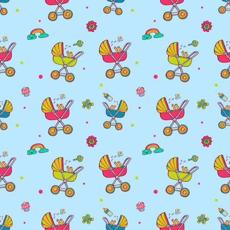 Pattern with cute baby carriages. Illustration