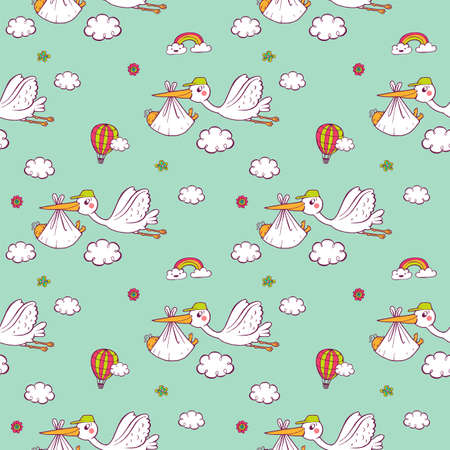 Pattern with cute storks carrying the baby.