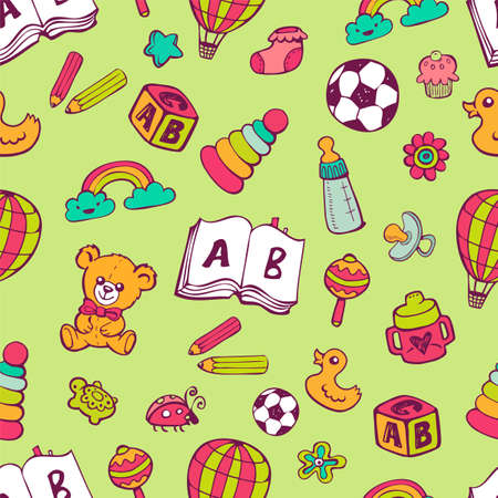 simple girl: Seamless pattern with cute baby toys. Illustration