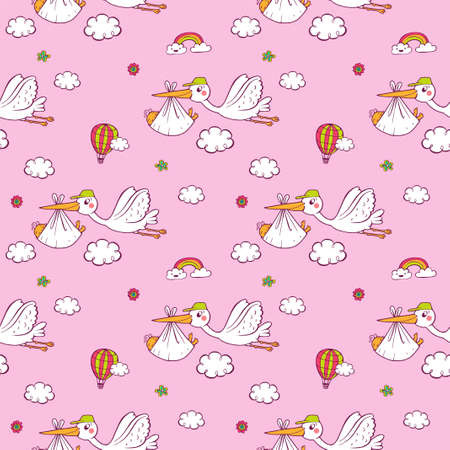 Seamless pattern with cute storks carrying the baby.