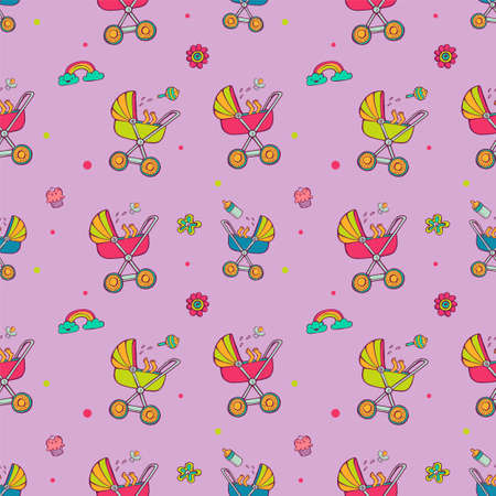 Seamless pattern with cute baby carriages on violet background. The good choice for childrens accessories, fabric and other. Vector illustration