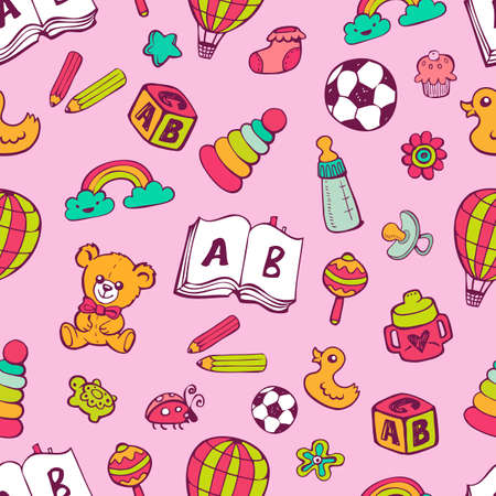 simple girl: Seamless pattern with cute baby toys on pink background. The good choice for childrens accessories, fabric and other. Vector illustration Illustration