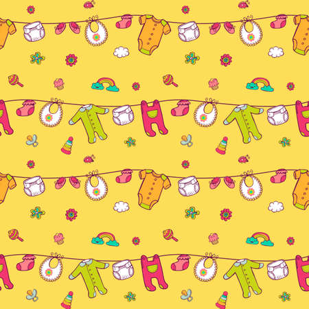 Pattern with cute baby clothes.