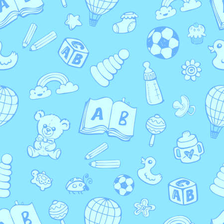 Seamless pattern with cute baby toys. Illustration