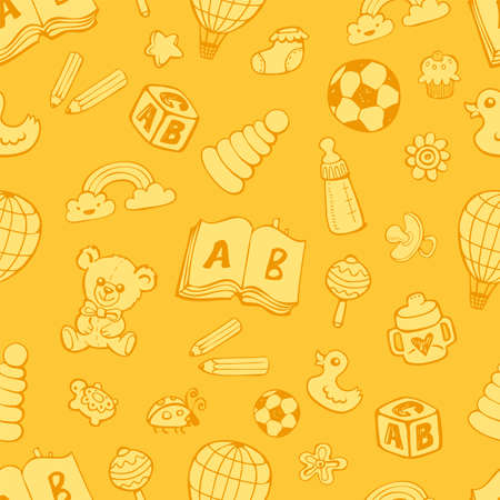 Seamless pattern with cute baby toys in yellow monochrome colors on yellow background. The good choice for childrens accessories, fabric and other. Vector illustration