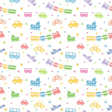 Seamless pattern with cute baby toys on white background. The good choice for childrens accessories, fabric and other. Vector illustration