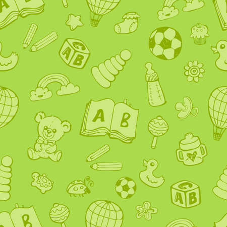 Seamless pattern with cute baby toys in green monochrome colors on green background. The good choice for childrens accessories, fabric and other. Vector illustration