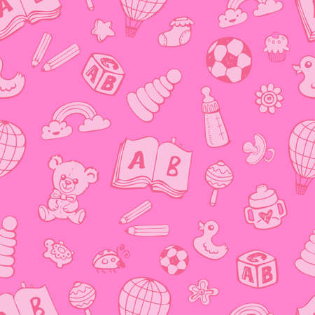 Seamless pattern with cute baby toys in pink monochrome colors on pink background. The good choice for childrens accessories, fabric and other. Vector illustration