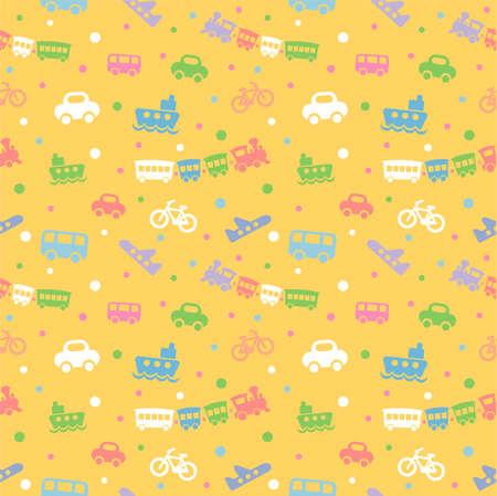 Seamless pattern with cute baby toys on yellow background. The good choice for childrens accessories, fabric and other. Vector illustration