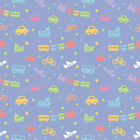 Patrón sin fisuras con juguetes de bebé lindo sobre fondo azul. La buena opción para los accesorios de los niños, la tela y el otro. Ilustración vectorial Foto de archivo - 83879598