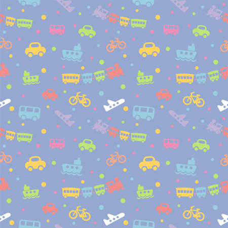 Seamless pattern with cute baby toys on blue background. The good choice for childrens accessories, fabric and other. Vector illustration Illustration