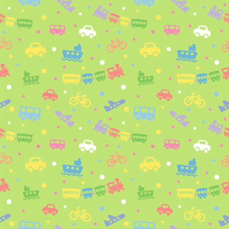 Seamless pattern with cute baby toys on green background. The good choice for childrens accessories, fabric and other. Vector illustration Illustration