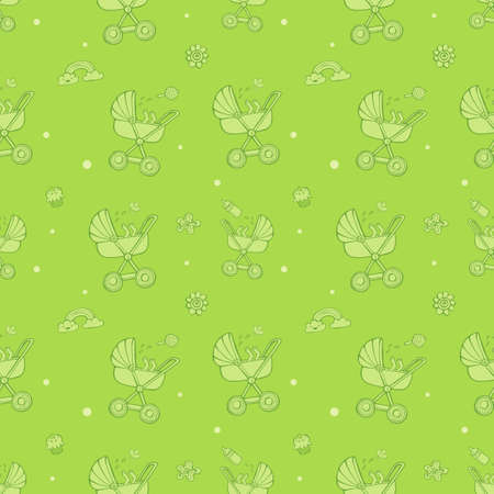 Seamless monochrome pattern with cute baby carriages on green background. The good choice for childrens accessories, fabric and other. Vector illustration