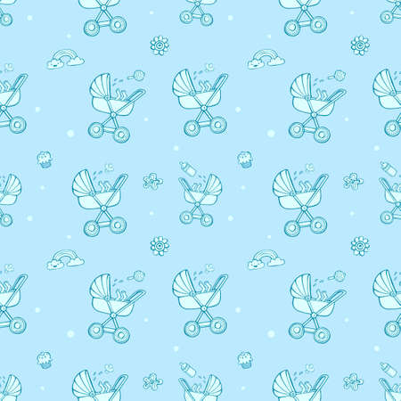 Seamless monochrome pattern with cute baby carriages on blue background. The good choice for childrens accessories, fabric and other. Vector illustration