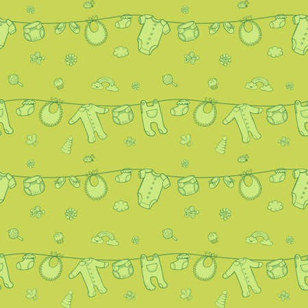 Seamless monochrome pattern with cute baby clothes on green background. The good choice for childrens accessories, fabric and other. Vector illustration