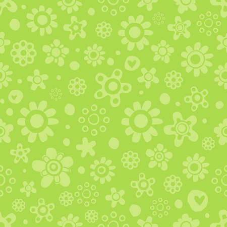 Seamless pattern with cute funny cartoon flowers and herbs in green monochrome colors on green background. The good choice for childrens accessories, fabric and other. Vector illustration Illustration