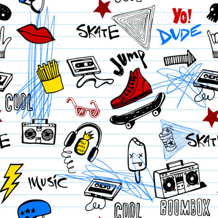 Seamless pattern with Hipsters teens doodles Illustration