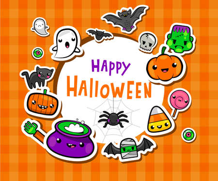 Frame with cute halloween illusrations Illustration