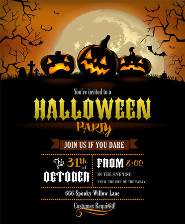 Halloween party invitation with scary pumpkins and a full moon