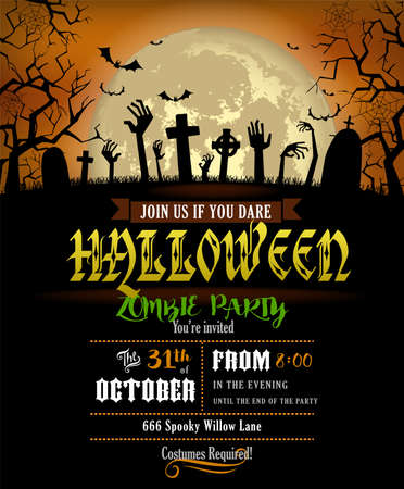Halloween party invitation or poster or the zombies party