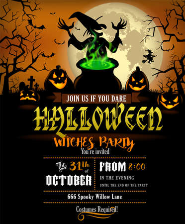 Halloween Party invitation with terrible pumpkins and witch.
